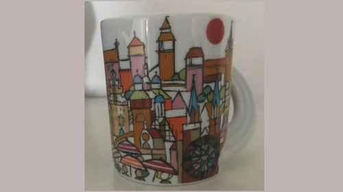 En stiliserad bild av staden Nürnberg i Tyskland på en kopp