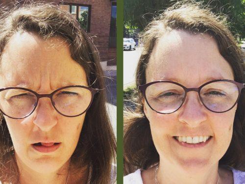 En bild på Astrid, arg på vänstra sidan, glad på högra sidan